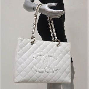 Chanel Grand Shopping Tote White Quilted Caviar